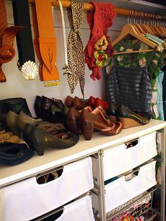like how this closet is organized - and I want her shoes & belts