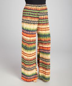 Take+a+look+at+the+Yummy+Green+&+Yellow+Geometric+Palazzo+Pants+-+Plus+on+#zulily+today!