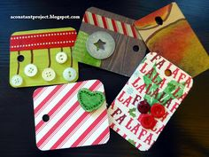 Laminate chip samples being re-purposed as gift tags.   a constant project