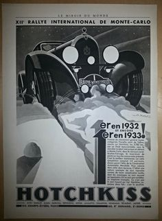 This is an Original Art Deco Hotchkiss automobile poster Ad from 1933 (81 years old).This is not a replica. This is in black and white, with bold