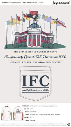 Interfraternity Conference Fall Recruitment Shirt | Fraternity Fall Recruitment Shirt | Greek Fall Recruitment Shirt #interfraternityconference #ifc #Fall #Recruitment #Shirt #building #sketch #flags Fall Designs, Building Sketch, Custom Design Shirts, Sorority And Fraternity, Color Shorts, Comfort Colors, Autumn Theme, Hunter Green, Flags