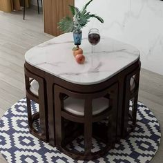 Space Saving Dining Table, Compact Dining Table, Dinning Table Design, Unique Dining Tables, Small Kitchen Tables, Wooden Dining Tables, Dining Table Chairs, Round Dining, Kitchen Room Design