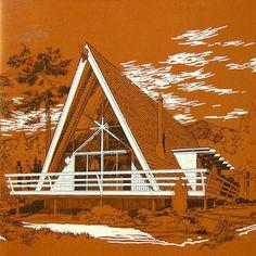 Vtg Rustic Cedar Wood Home Building Floor Plans Ad Brochure Chalet A Frame Cabin