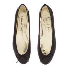 PT04 - Black Leather - Ballet Pumps   French Sole