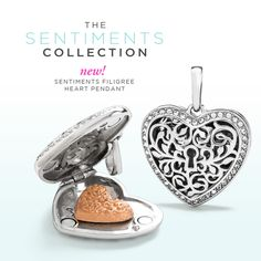 Origami Owl Spring 2017: The new Origami Owl Sentiments filigree hear pendant is gorgeous! Just  add a few drops of essential oil to the ceramic disc and enjoy the calming benefits of scent all day long!