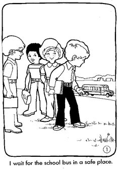School Bus Safety Coloring Pages | Bus | Pinterest | Bus safety ...