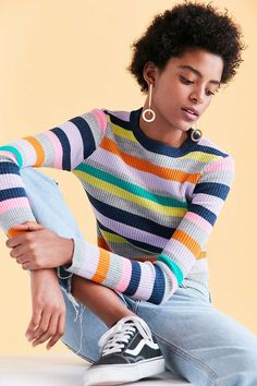 Silence + Noise Rainbow Stripe Crew-Neck Sweater - Urban Outfitters