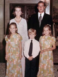 Queen Sofia, King Juan Carlos, Infanta Elena, Infante Felipe, Infanta Cristina, 1974