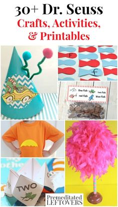 Seuss Crafts, Activities, and Printables- These are fun ways for kids to celebrate National Read Across America Day or Dr. Seuss Day on March Dr Seuss Hat, Dr Seuss Week, Fun Activities For Kids, Craft Activities, Activity Ideas, Kids Fun, Dr Seuss Crafts, Red Fish Blue Fish, Crafts For Kids To Make