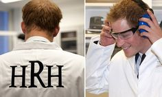 Harry wears HRH emblazoned whites on visit to laboratory of the royal british legions blast injuries laboratory  at imperial college london 17.10.13
