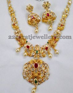 Jewellery Designs: Peacock Floral Pachi Set 47gms