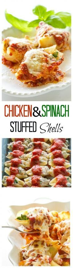 Chicken and Spinach Stuffed Shells - great flavor and makes a ton! I always make this for company. http://the-girl-who-ate-everything.com