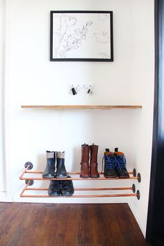 This might be the coolest shoe rack ever! Build your own floating shoe rack with copper pipe, and fittings from the plumbing aisle! Found on www.freshcrush.com