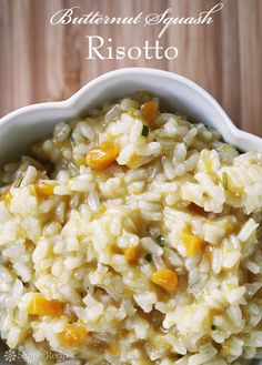 Butternut Squash Risotto ~ Creamy butternut squash risotto recipe, perfect for autumn.  Arborio rice, slowly cooked in broth, with onion, butternut squash, white wine, butter, Parmesan and chives. ~ SimplyRecipes.com