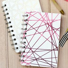 Create your own mini notebooks with pink and gold foil paper