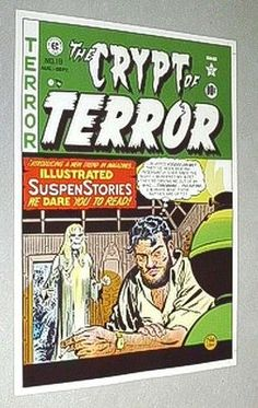 We have MANY original vintage EC Comics comic book cover art posters in our ebay listings (Tales from the Crypt, Vault of Horror, Crypt of Terror, Weird Fantasy, Frontline Combat, Two-Fisted Tales). These EC posters came from the 1970's Russ Cochran EC Comics portfolio that reproduced 1950's EC cover artwork, with golden age/silver age artists like Harvey Kurtzman, Jack Davis, Graham Ingels, George Evans, John Severin, Bill Elder, Al Feldstein, Jack Kamen, Wally Wood, & Johnny Craig. $39.99