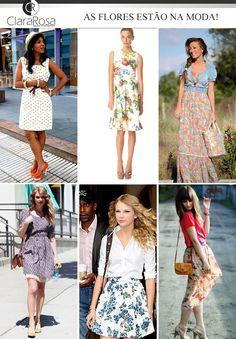 As flores estão na moda! Seja em saias ou vestidos as estampas florais estão fazendo o maior sucesso entre fashionistas e celebridades. Para você que ama looks super femininos e com um toque de romantismo, veja esses looks e inspire-se!