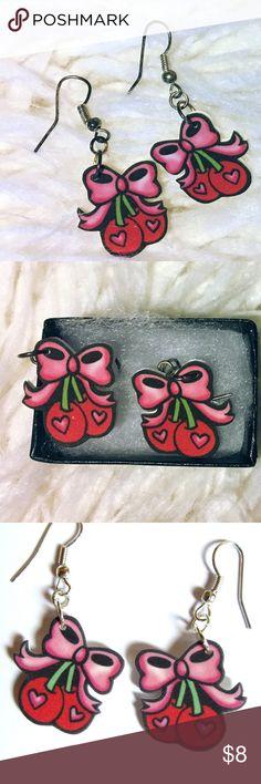 ❤️ Retro cherry bow earrings ❤️ Super cute!!! 🍒🎀 sanitized & ready to wear Jewelry Earrings