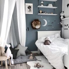 Moon and Stars children bedroom decor! Lovely ash blue wall paint with moon and stars painted above white bedsheets Star Bedroom, Small Room Bedroom, Blue Bedroom, Kids Bedroom, Bedroom Decor, Childrens Bedroom, Boys Monochrome Bedroom, Baby Room Colors, Baby Room Neutral