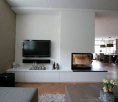 Living Room with Fireplace That Will Warm your Home Fireplace Tv Wall, Modern Fireplace, Living Room With Fireplace, Fireplace Design, Scandinavian Fireplace, Rack Tv, Small Hallways, Living Room Interior, Home And Living