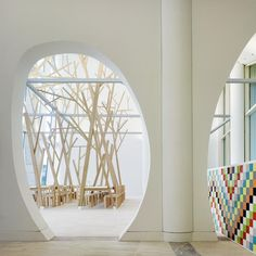 Remodelista, Estudio Nomada, Cidade da Cultura de Galicia, abstract forest of trees, wall of colored tiles