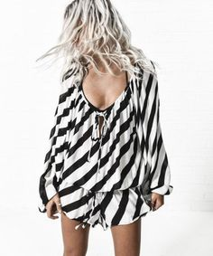 Romper: stripes, black and white, long sleeve romper - Wheretoget