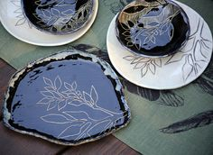 Black and white sgraffito pottery by Gypsy Sisters Studio