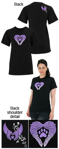 Wings of an Angel Purple Paw T-Shirt at The Animal Rescue Site