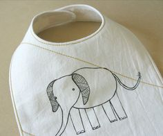 organic baby bib white elephant by downhomeamy on Etsy, $20.00