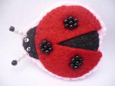 Felt brooch   Ladybug brooch  red ladybird pin by ynelcas on Etsy, $8.00