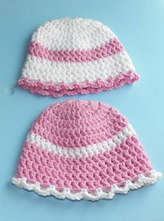 Pink & White Baby Hats