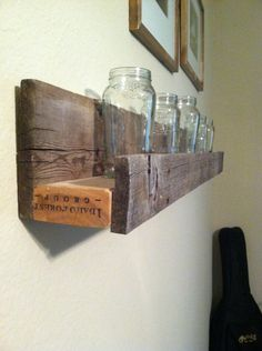 Weathered sunken barnwood shelf. $49.95, via Etsy.