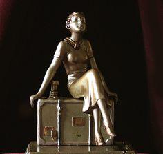 RARE Austrian Art Deco 'Flapper Girl on Suitcase' Striker by Lorenzl C 1925 | eBay