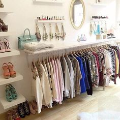Room closet, no closet bedroom, dressing area, dressing room decor, wardrob Closet Storage, Closet Organization, Organization Ideas, Closet Shelves, Diy Storage, Room Shelves, Ladder Storage, Closet Wall, Closet Vanity