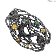 Gemstone Tsavorite/Emerald Sterling Silver Pave 11.2ct Diamond SNAKE FROG Bangle #Handmade