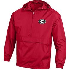 Champion Men's University of Georgia Packable Jacket (Red, Size XX Large) - NCAA Licensed Product, NCAA Men's Fleece/Jackets at Academy Sports