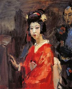 Isaac Israels ~  Japanese woman in red kimono Sun