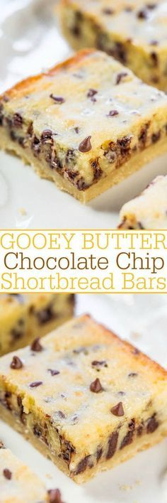 Gooey Butter Chocolate Chip Shortbread Bars Dessert Recipe via Averie Cooks - A buttery shortbread crust topped with a creamy, buttery topping that's almost like custard!! The bars live up to their gooey, buttery name!!