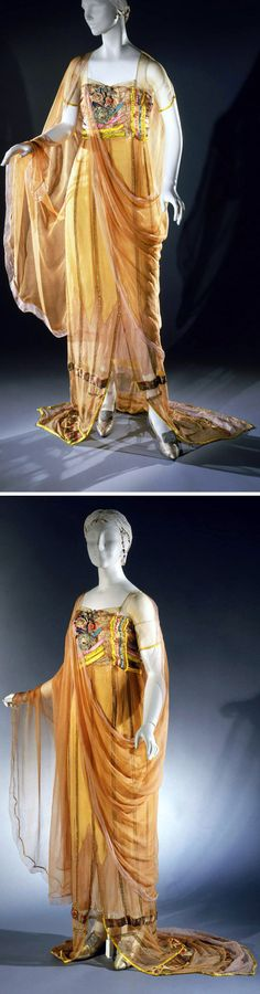Evening dress, Harry Collins, ca. 1921. Peach silk chiffon with turquoise, chartreuse, and pink silk ribbon and metallic trim. Philadelphia Museum of Art