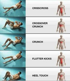 16. Crunch And Twist Try these in addition to a typical crunch, by simple twisting slightly so your left elbow touches your right knee, then your right elbow touches your left knee. Again, repeat for 3 sets of 12.