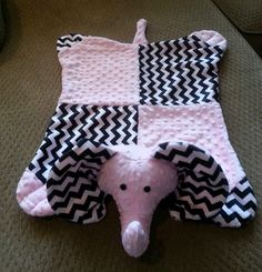 chevron black & pink Minky elephant animal by SnuggleMePals, $29.95