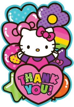 Hello Kitty Rainbow Thank You Notes (8) from BirthdayExpress.com