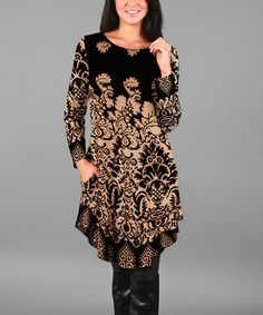 Another great find on #zulily! Beige & Black Floral Shift Tunic #zulilyfinds