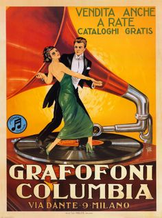 Italy gramophone columbia milano couple dance vintage poster repro large