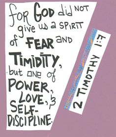 """For God didn't give us a spirit of fear, but of power, love, and self-control."" 2 Timothy 1:7 <-- what we FEED ...G R O W S... lets starve the negative and feed the negative!"