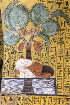 UNESCO World Heritage, Thebes in Egypt, Deir el Medineh, tomb of Irynefer, the Dead drinks water under a palm-tree. This painting helps him to survive eternally. Ancient Egyptian Paintings, Ancient Egypt Art, Egyptian Art, Ancient Artifacts, Ancient History, Art History, Egyptian Mythology, Egyptian Goddess, European History