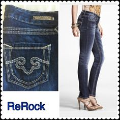 "NWT ReRock Jeans 6 Skinny • ReRock Jeans • Los Angeles For Express • 98% Cotton •2% spandex • NEW WITH TAGS • $118 plus tax new • size 6 skinny • 29"" inseam • back top jeans 38"" to ankle • 37"" front to bottom of ankle Express Jeans Skinny"