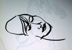 Drawn in minutes, a pen sketch face from life drawing.