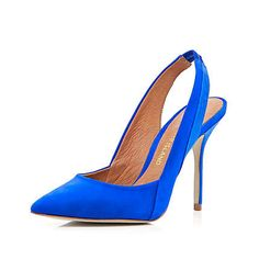 Bright blue pointed sling back court shoes - heels - shoes / boots - women