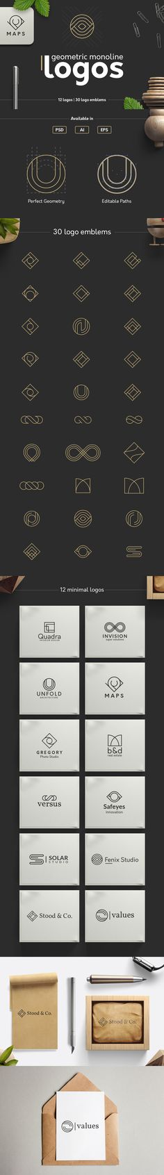12 minimal #geometric monoline #Logo #templates